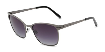 Angle of Riley #2300 in Grey Frame with Smoke Lenses, Women's and Men's Browline Sunglasses