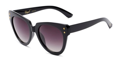 Angle of Roane #34121 in Black Frame with Smoke Lenses, Women's Cat Eye Sunglasses