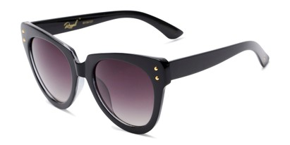 Angle of Roane #34121 in Black/Clear Frame with Smoke Lenses, Women's Cat Eye Sunglasses