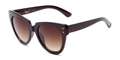 Angle of Roane #34121 in Brown Frame with Amber Lenses, Women's Cat Eye Sunglasses