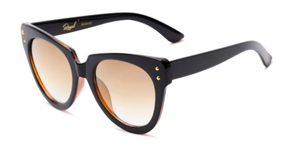 Angle of Roane #34121 in Black/Brown Frame with Yellow Lenses, Women's Cat Eye Sunglasses
