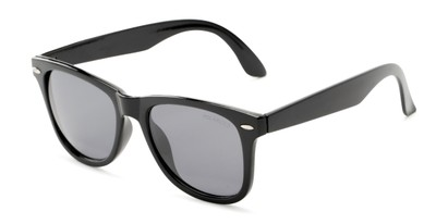 Angle of Rockingham #1077 in Black Frame with Smoke Lenses, Women's and Men's Retro Square Sunglasses
