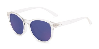 Angle of Roman #2886 in Clear Frame with Blue Mirrored Lenses, Women's and Men's Round Sunglasses