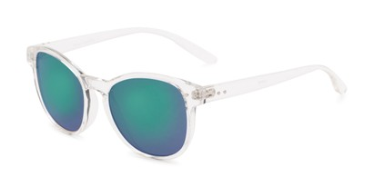Angle of Roman #2886 in Clear Frame with Blue/Green Mirrored Lenses, Women's and Men's Round Sunglasses
