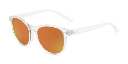 Angle of Roman #2886 in Clear Frame with Orange Mirrored Lenses, Women's and Men's Round Sunglasses