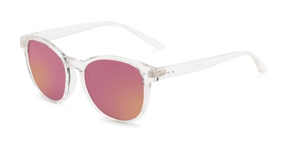 Angle of Roman #2886 in Clear Frame with Pink Mirrored Lenses, Women's and Men's Round Sunglasses