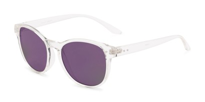 Angle of Roman #2886 in Clear Frame with Purple Mirrored Lenses, Women's and Men's Round Sunglasses
