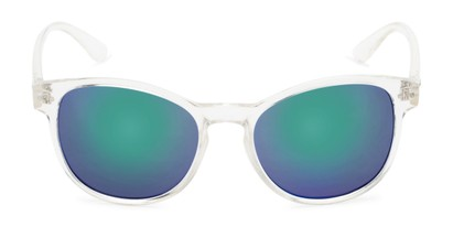 Front of Roman #2886 in Clear Frame with Blue/Green Mirrored Lenses