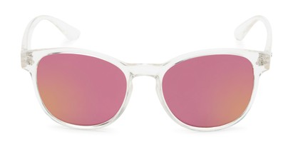 Front of Roman #2886 in Clear Frame with Pink Mirrored Lenses