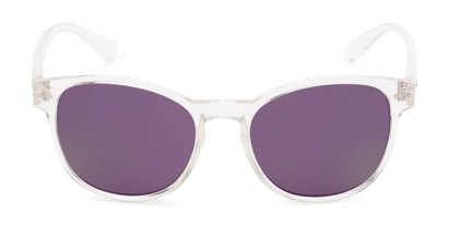 Front of Roman #2886 in Clear Frame with Purple Mirrored Lenses
