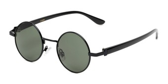Angle of Rounder #706 in Black Frame with Green Lenses, Women's and Men's Round Sunglasses