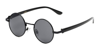 Angle of Rounder #706 in Black Frame with Grey Lenses, Women's and Men's Round Sunglasses