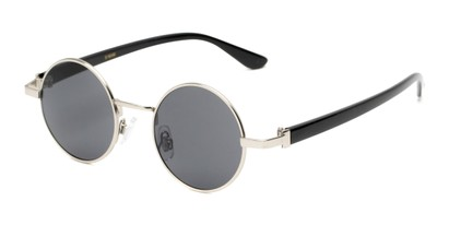 Angle of Rounder #706 in Glossy Silver Frame with Grey Lenses, Women's and Men's Round Sunglasses
