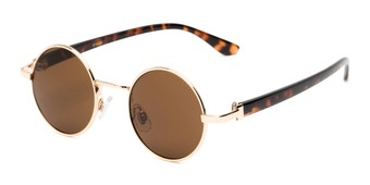 Angle of Rounder #706 in Gold Frame with Amber Lenses, Women's and Men's Round Sunglasses