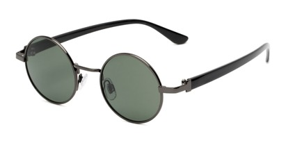 Angle of Rounder #706 in Grey Frame with Green Lenses, Women's and Men's Round Sunglasses