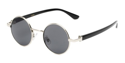 Angle of Rounder #706 in Matte Silver Frame with Grey Lenses, Women's and Men's Round Sunglasses