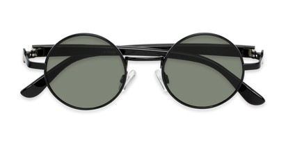Folded of Rounder #706 in Black Frame with Green Lenses