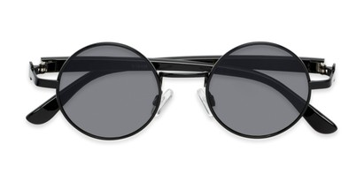 Folded of Rounder #706 in Black Frame with Grey Lenses