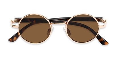 Folded of Rounder #706 in Gold Frame with Amber Lenses