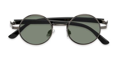 Folded of Rounder #706 in Grey Frame with Green Lenses