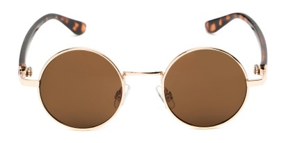 Front of Rounder #706 in Gold Frame with Amber Lenses