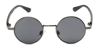 Angle of Rounder #706 in Grey Frame with Grey Lenses, Women's and Men's Round Sunglasses