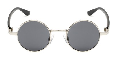 Front of Rounder #706 in Matte Silver Frame with Grey Lenses