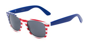 Angle of Rushmore #2058 in Red/White/Blue with Blue Temples, Women's and Men's Retro Square Sunglasses