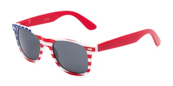 Angle of Rushmore #2058 in Red/White/Blue with Red Temples, Women's and Men's Retro Square Sunglasses