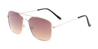 Angle of Russell #6235 in Gold Frame with Amber Lenses, Women's and Men's Aviator Sunglasses