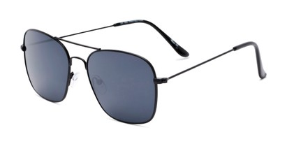 Angle of Russell #6235 in Black Frame with Grey Lenses, Women's and Men's Aviator Sunglasses