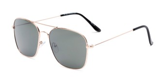 Angle of Russell #6235 in Gold Frame with Green Lenses, Women's and Men's Aviator Sunglasses