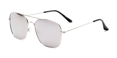 Angle of Russell #6235 in Silver Frame with Silver Mirrored Lenses, Women's and Men's Aviator Sunglasses