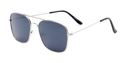 Angle of Russell #6235 in Silver Frame with Grey Lenses, Women's and Men's Aviator Sunglasses