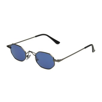 Angle of 1991 by Foster Grant in Gunmetal Frame with Blue Lenses, Women's Round Sunglasses