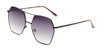 Angle of Alice in Black Frame with Smoke Gradient Lenses, Women's Aviator Sunglasses