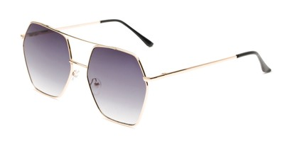 Angle of Alice in Gold Frame with Smoke Gradient Lenses, Women's Aviator Sunglasses
