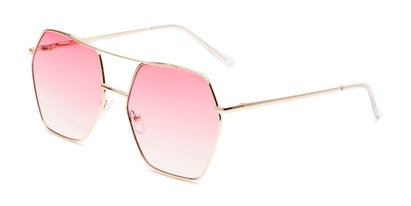 Angle of Alice in Gold Frame with Pink Gradient Lenses, Women's Aviator Sunglasses