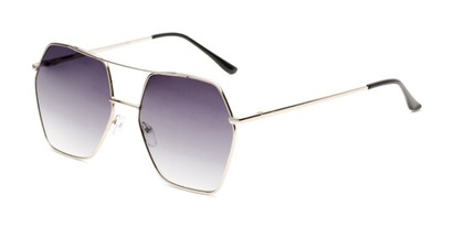 Angle of Alice in Silver Frame with Smoke Gradient Lenses, Women's Aviator Sunglasses
