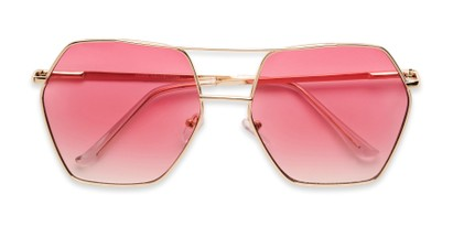 Folded of Alice in Gold Frame with Pink Gradient Lenses