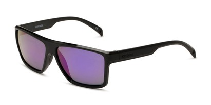 Angle of BG Floating 1801 by Body Glove in Black Frame with Purple Mirrored Lenses, Women's and Men's Square Sunglasses