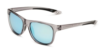 Angle of BG Floating 2002 by Body Glove in Grey Frame with Blue Mirrored Lenses, Women's and Men's Retro Square Sunglasses