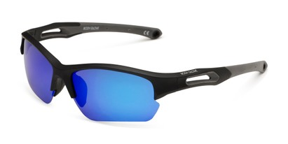Angle of BG Floating 2001 by Body Glove in Matte Black Frame with Blue Lenses, Men's Sport & Wrap-Around Sunglasses
