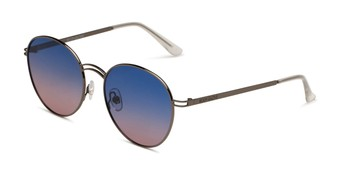 Angle of BGL1902 by Body Glove in Gunmetal Grey Frame with Blue/Pink Mirrored Gradient Lenses, Women's Round Sunglasses