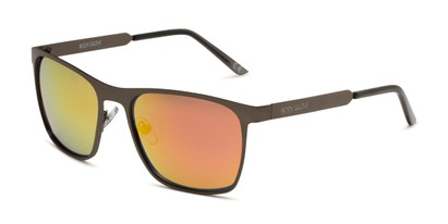 Angle of BGM 1906 by Body Glove in Matte Dark Grey Frame with Orange Mirrored Lenses, Men's Square Sunglasses