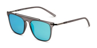 Angle of BGM2004 by Body Glove in Grey Frame with Blue Mirrored Lenses, Women's and Men's Retro Square Sunglasses