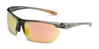 Angle of Joule by IRONMAN Triathlon in Grey Frame with Orange Mirrored Lenses, Men's Sport & Wrap-Around Sunglasses