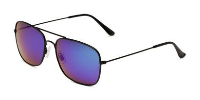 Angle of Aspen in Black Frame with Green/Purple Mirrored Lenses, Women's and Men's Aviator Sunglasses