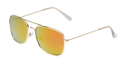 Angle of Aspen in Gold Frame with Red/Orange Mirrored Lenses, Women's and Men's Aviator Sunglasses