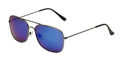 Angle of Aspen in Grey Frame with Blue Mirrored Lenses, Women's and Men's Aviator Sunglasses